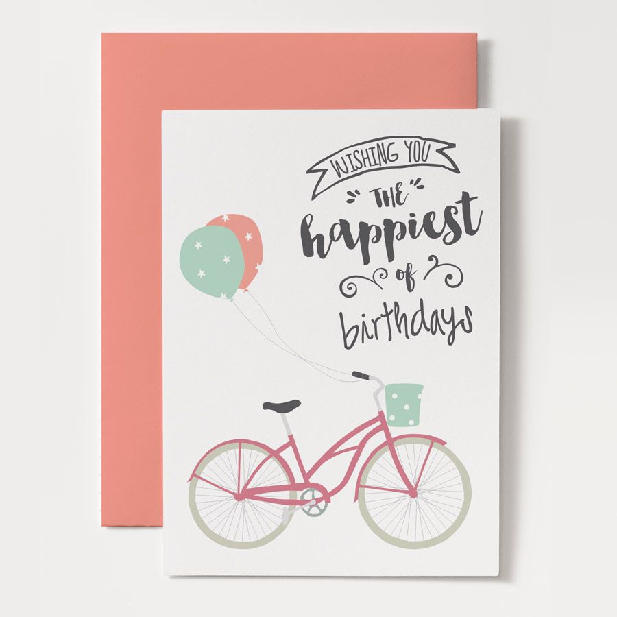 With Its Cute Hand Drawn Fonts And Bicycle This Printable Birthday Card Will Delight Any Woman Or Girl Download Print Cut Easy