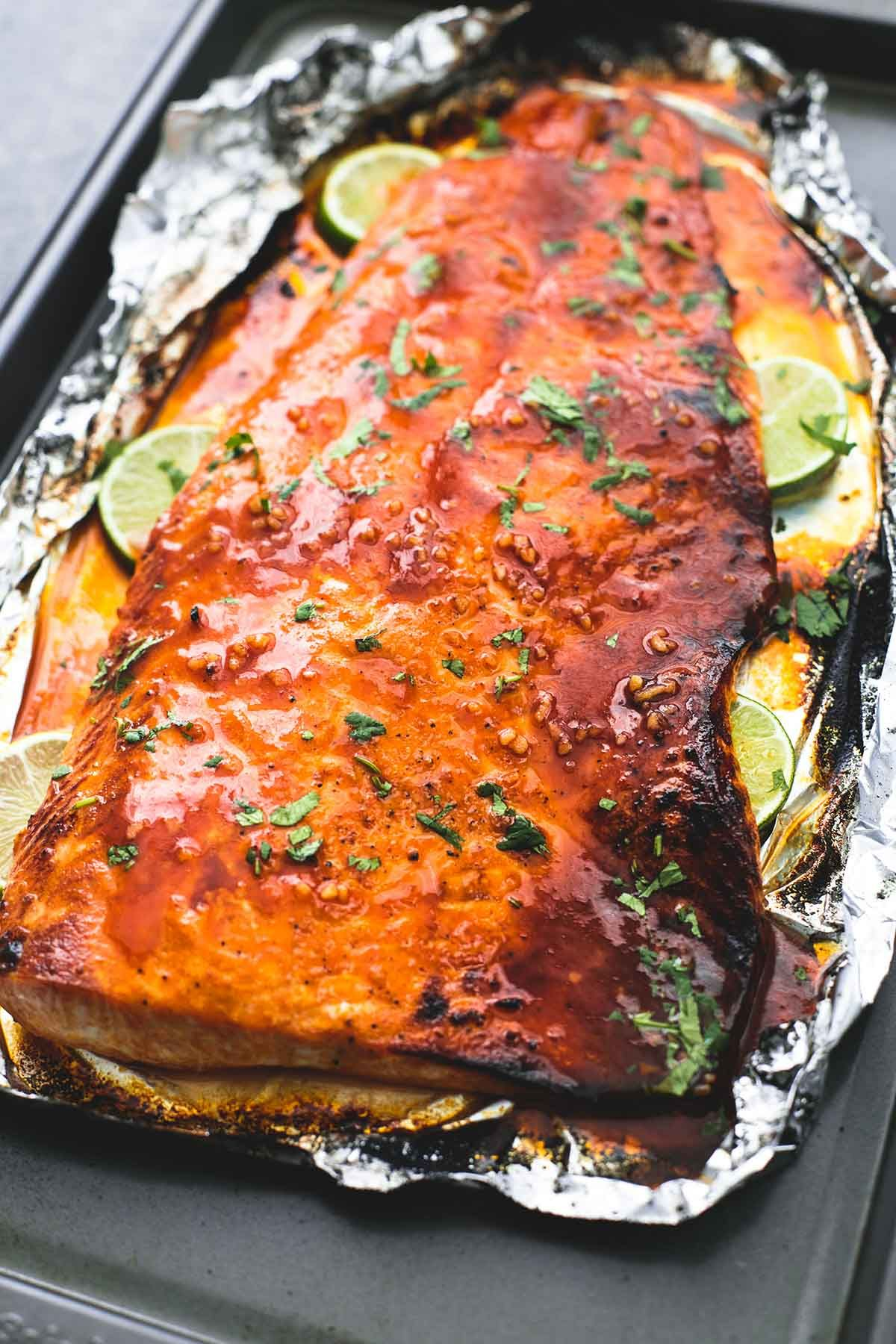 Check out baked honey sriracha lime salmon it 39 s so easy for How to fish for salmon