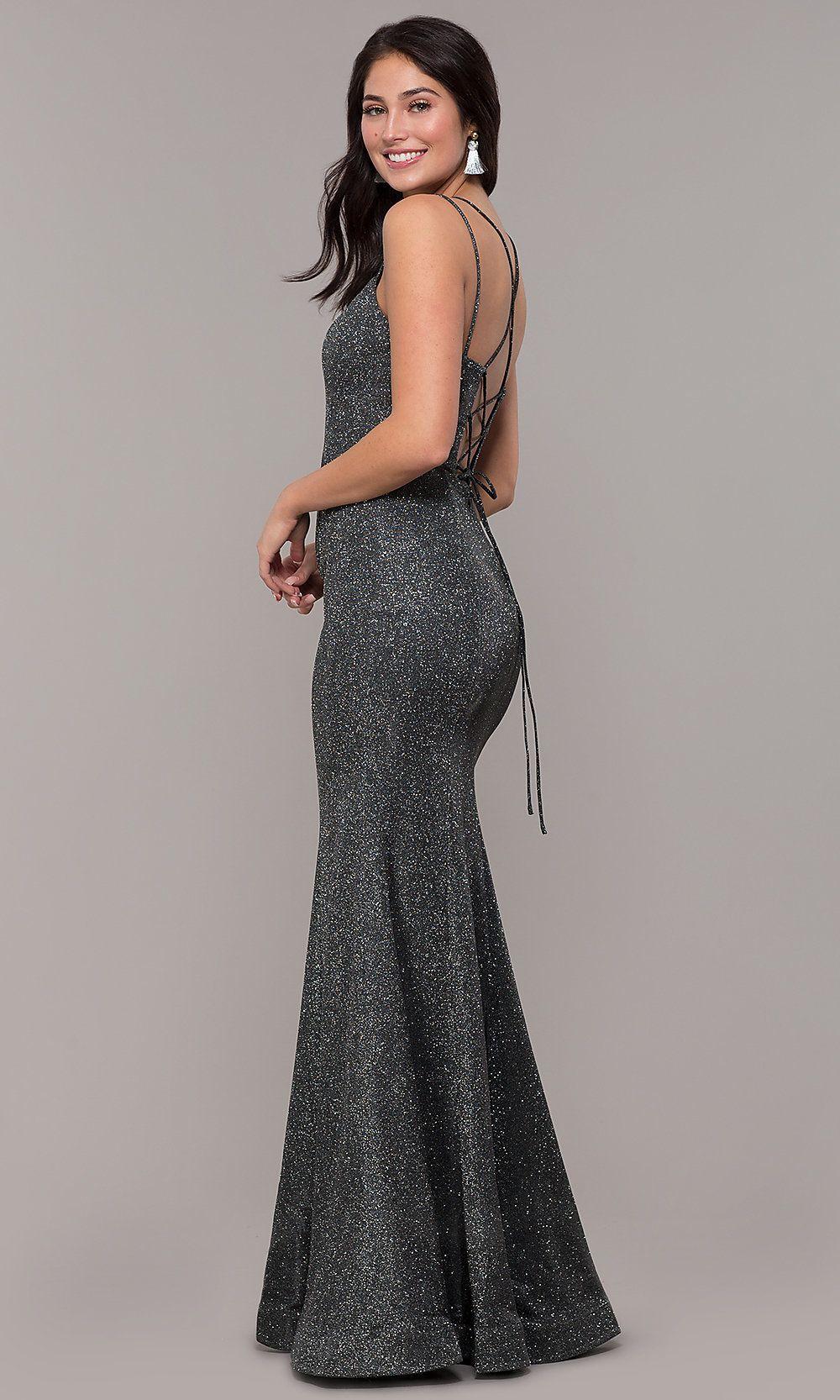 7576d3c9b01a1d Metallic Jersey Lace-Up-Back Mermaid Prom Dress in 2019 | Prom dress ...