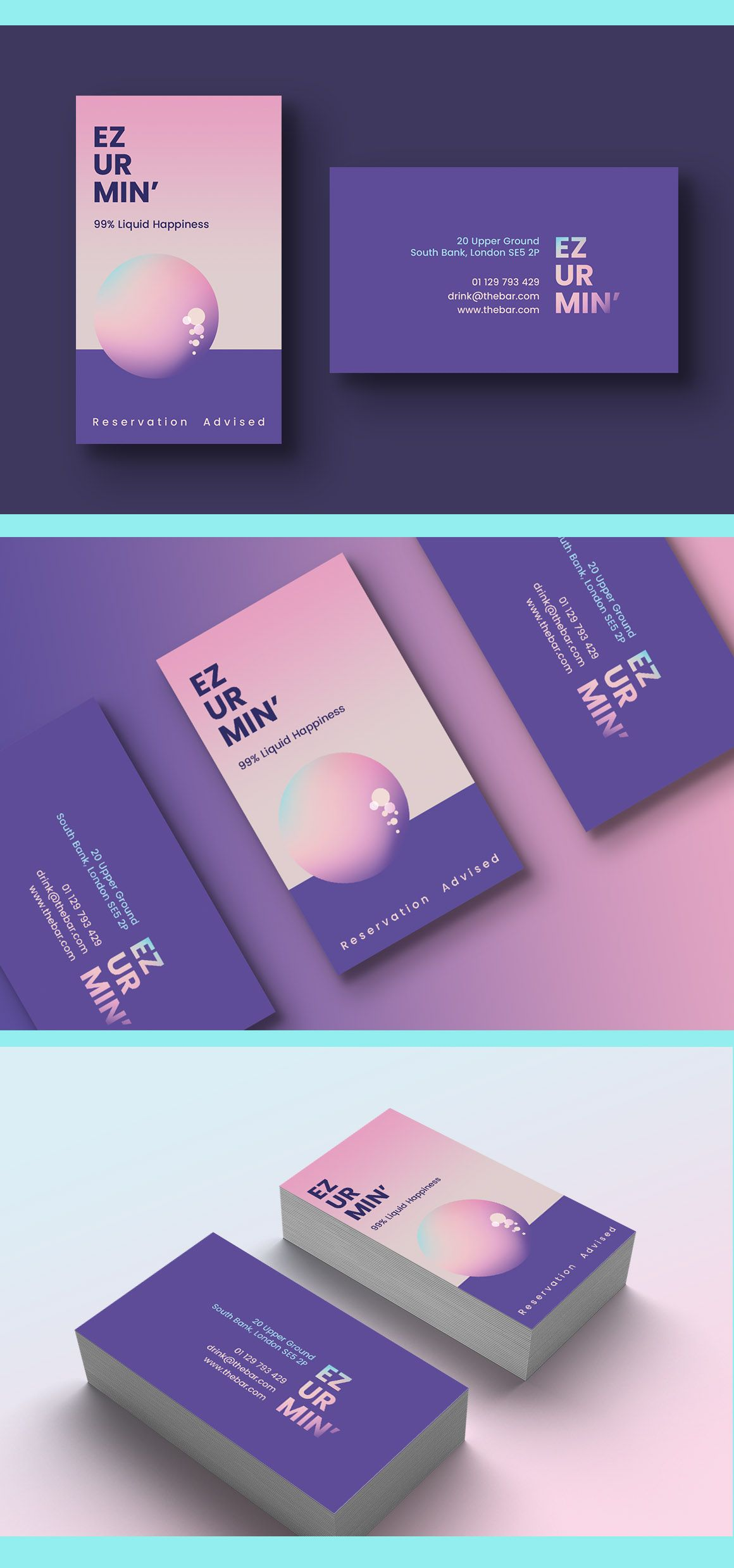Cocktail Bar Business Card Template Graphic Design Business Card Business Card Graphic Business Card Inspiration