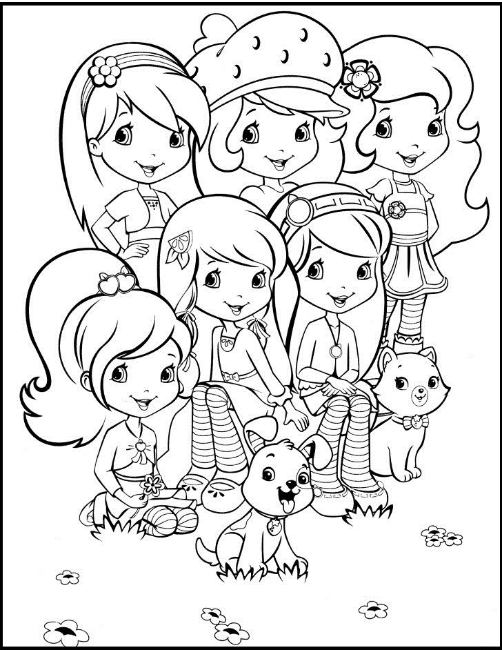 Strawberry Shortcake Together With Friends Coloring Pages For Kids G32 Pr Strawberry Shortcake Coloring Pages Princess Coloring Pages Cartoon Coloring Pages