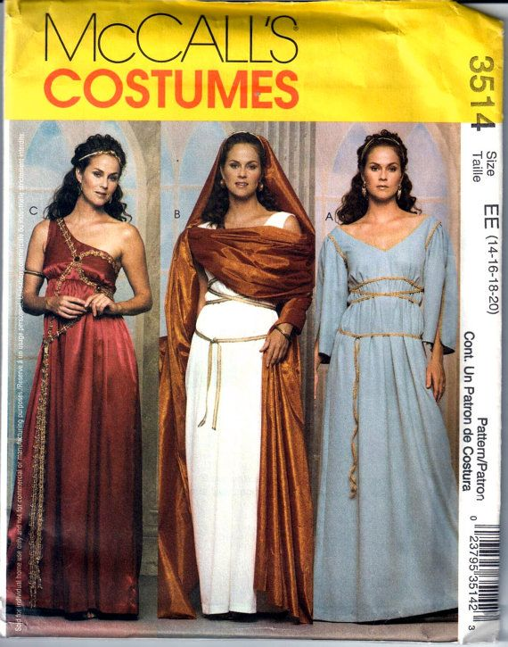 McCalls 3514 Misses Roman and Greek Goddess Costume Pattern Womens ...