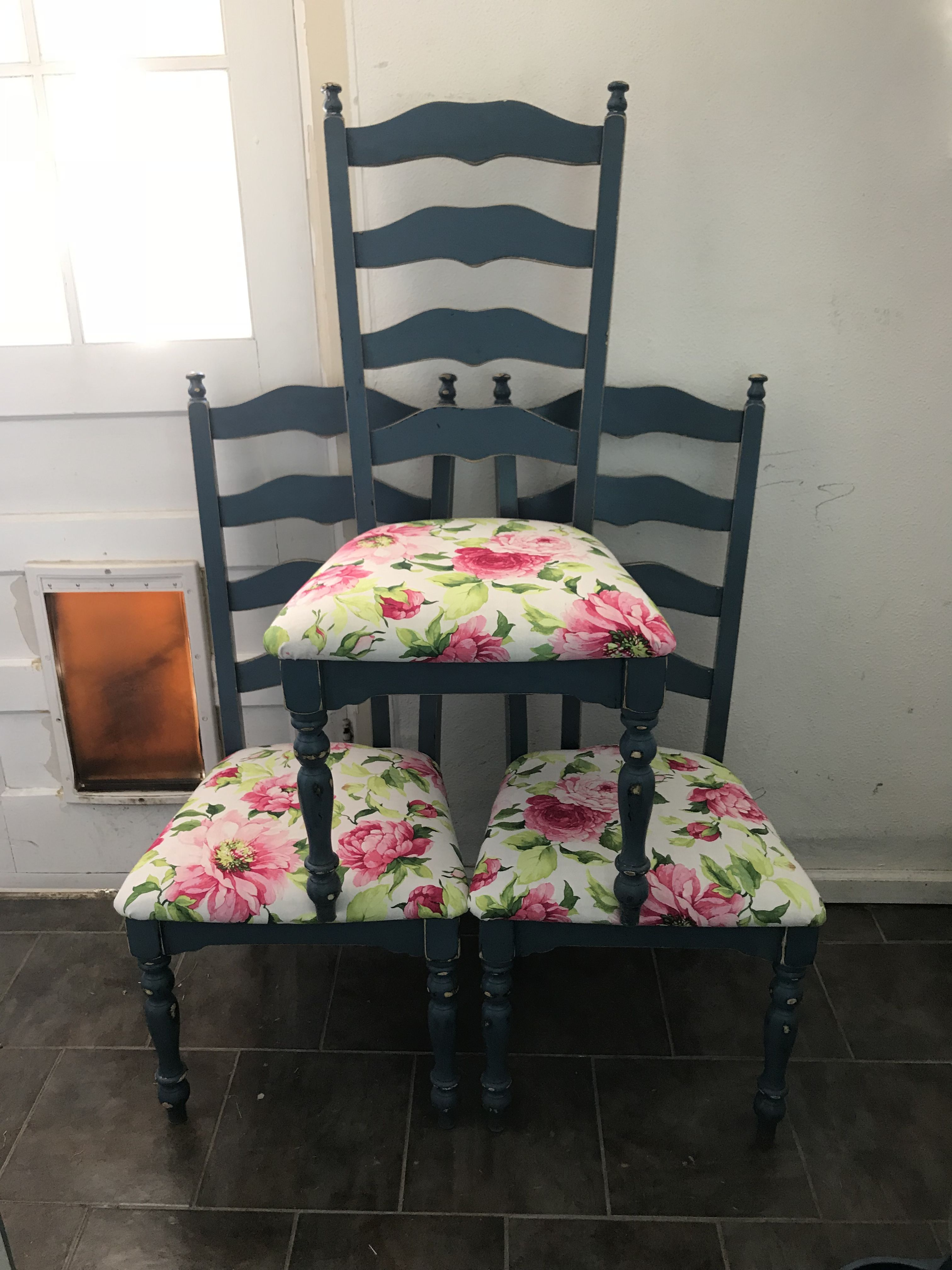 Shabby Chic Ladder Back Chairs With Dusty Blue Paint And