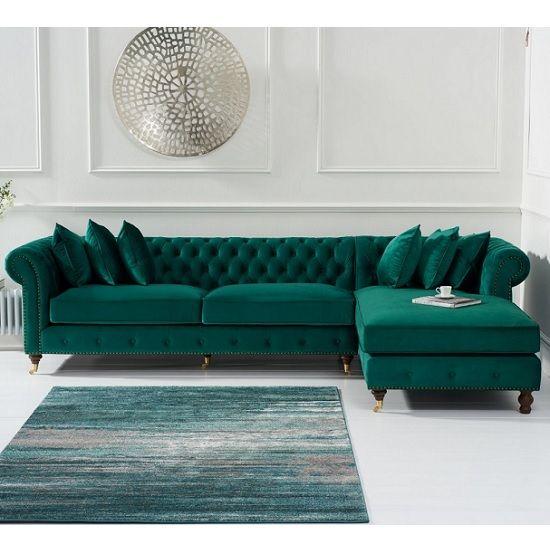 Nesta Chesterfield Right Corner Sofa In Green Velvet images