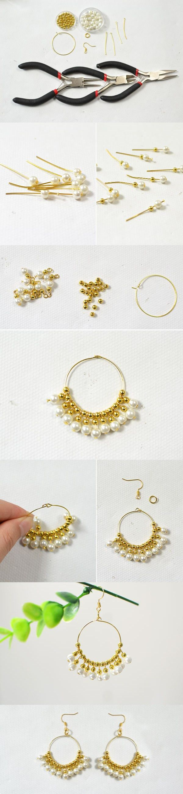 Tutorial for gold beaded hoop earrings from LC.Pandahall.com ...