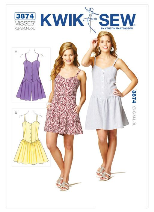 K3874 | Misses\' Spaghetti-Strap Romper and Dress Sewing Pattern ...