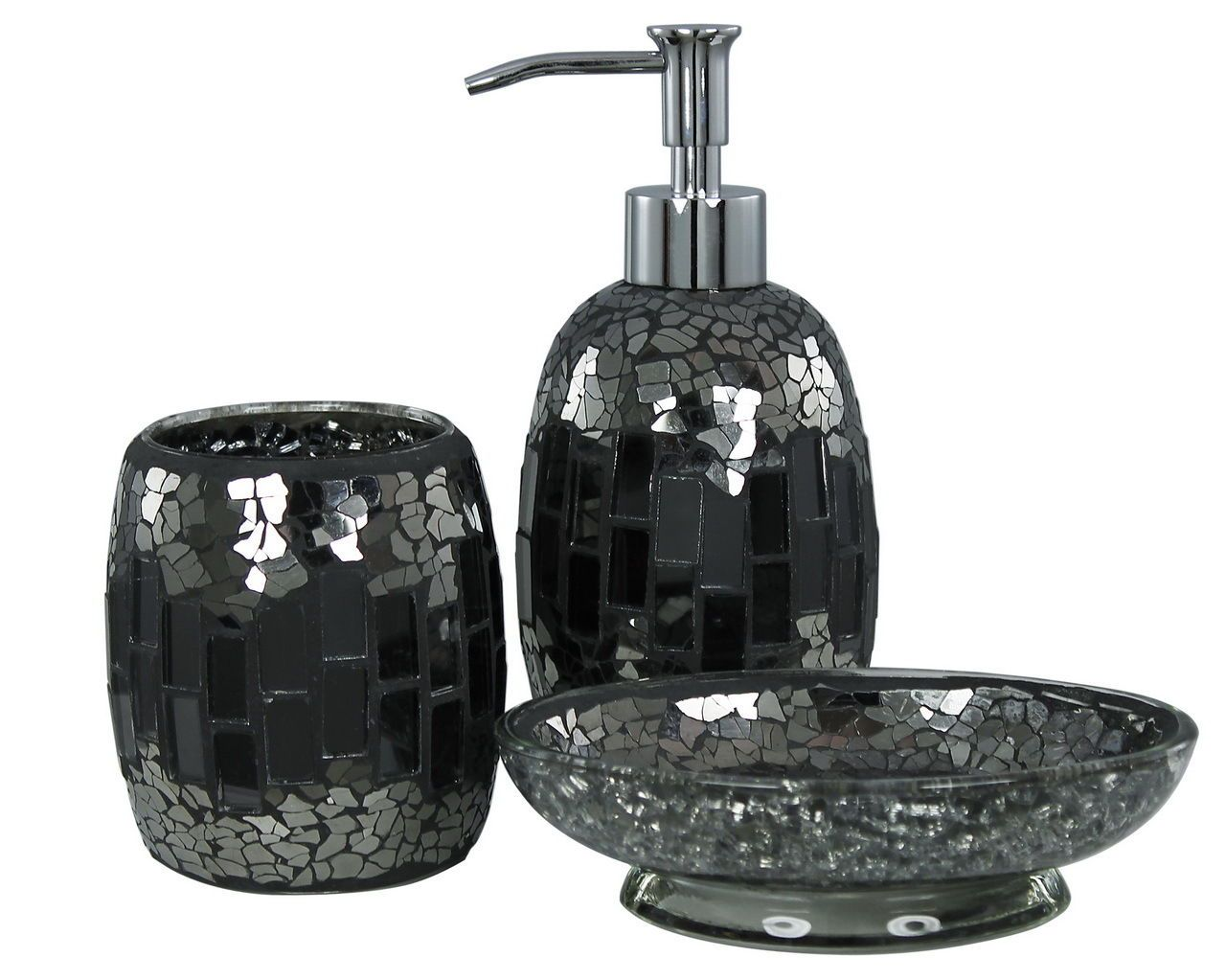 Mosaic Soap Dispenser Set 3 PIECE Black Sparkle Glass Bathroom Dish