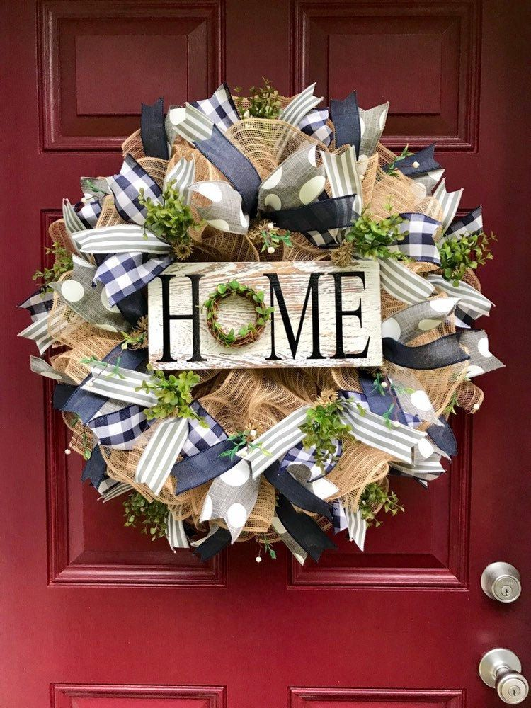 Photo of Home Wreath for Front Door, Burlap Wreath, Everyday Farmhouse Decor, Greenery Wreath, Year Round Wreath, Home Sign with Grapevine Greenery