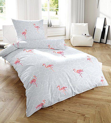 Primera Soft Seersucker Bettwäsche Grau Mit Flamingos 135x200