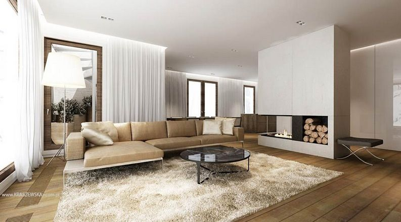 L Shaped Sofa Modern Fireplace Simple Modern And Cozy Home