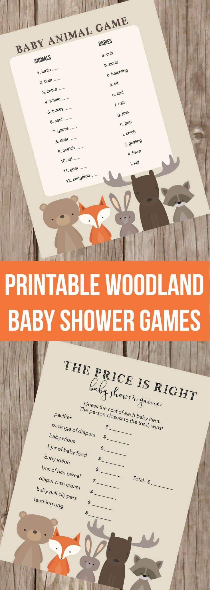 baby shower invitation wording for bringing diapers%0A Printable Woodland Baby Shower Games  The Price Is Right  Left Right Game   Baby
