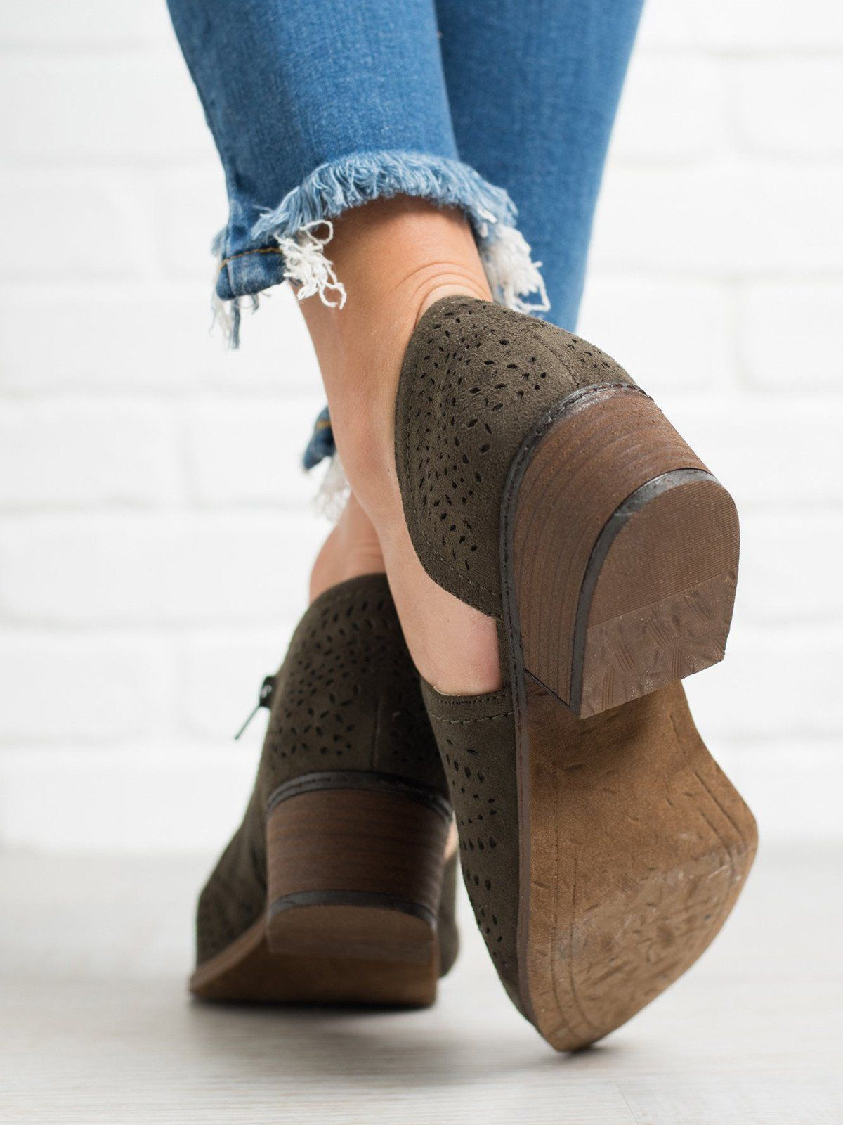 6d4602d7ee41 Hollow-out Low Heel Cutout Booties Faux Suede Zipper Ankle Boots – lalasgal