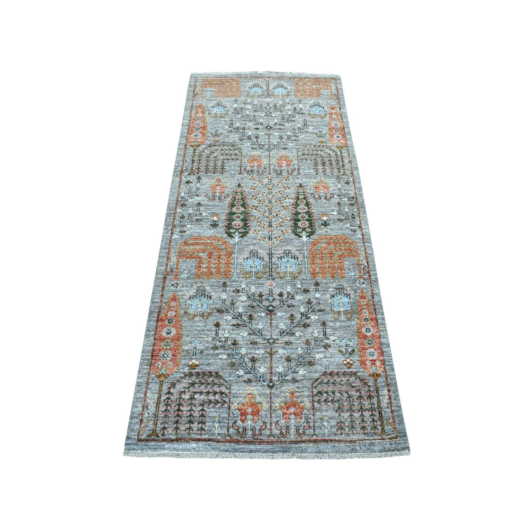 Gray Peshawar Willow And Cypress Tree Design Hand Knotted Oriental Runner Rug Wool Area Rugs Tree Designs Oriental Runner Rug