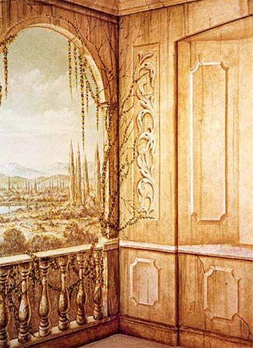 Classic Murals - Trompe l\'oeil mural decoration on dining room walls ...
