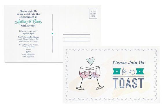 Postcard Toast: Hand Drawn Engagement Party Invitation
