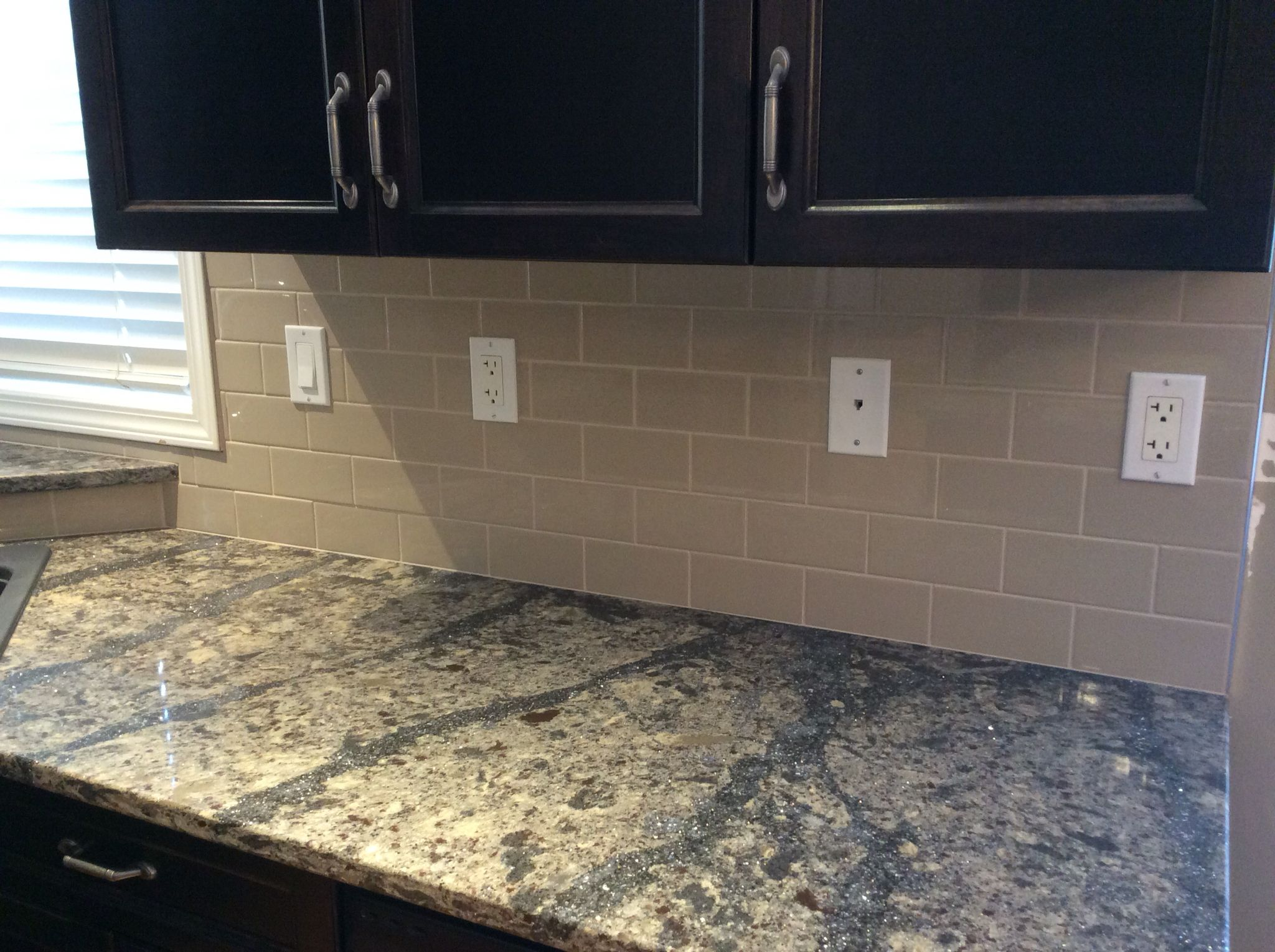 Cambria clyde kitchen and bathroom countertop color - Kitchen Reno 2016 Cambria Quartz Countertops Langdon Taupe Glossy Subway Backsplash Tile