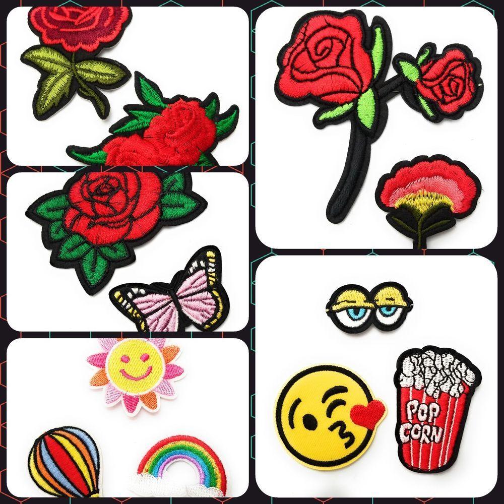 Details about Red Rose Flower Emoji Rainbow Iron On