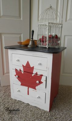 Canadian Flag Dresser Red White And Black Top Paint Crystelle Boutique