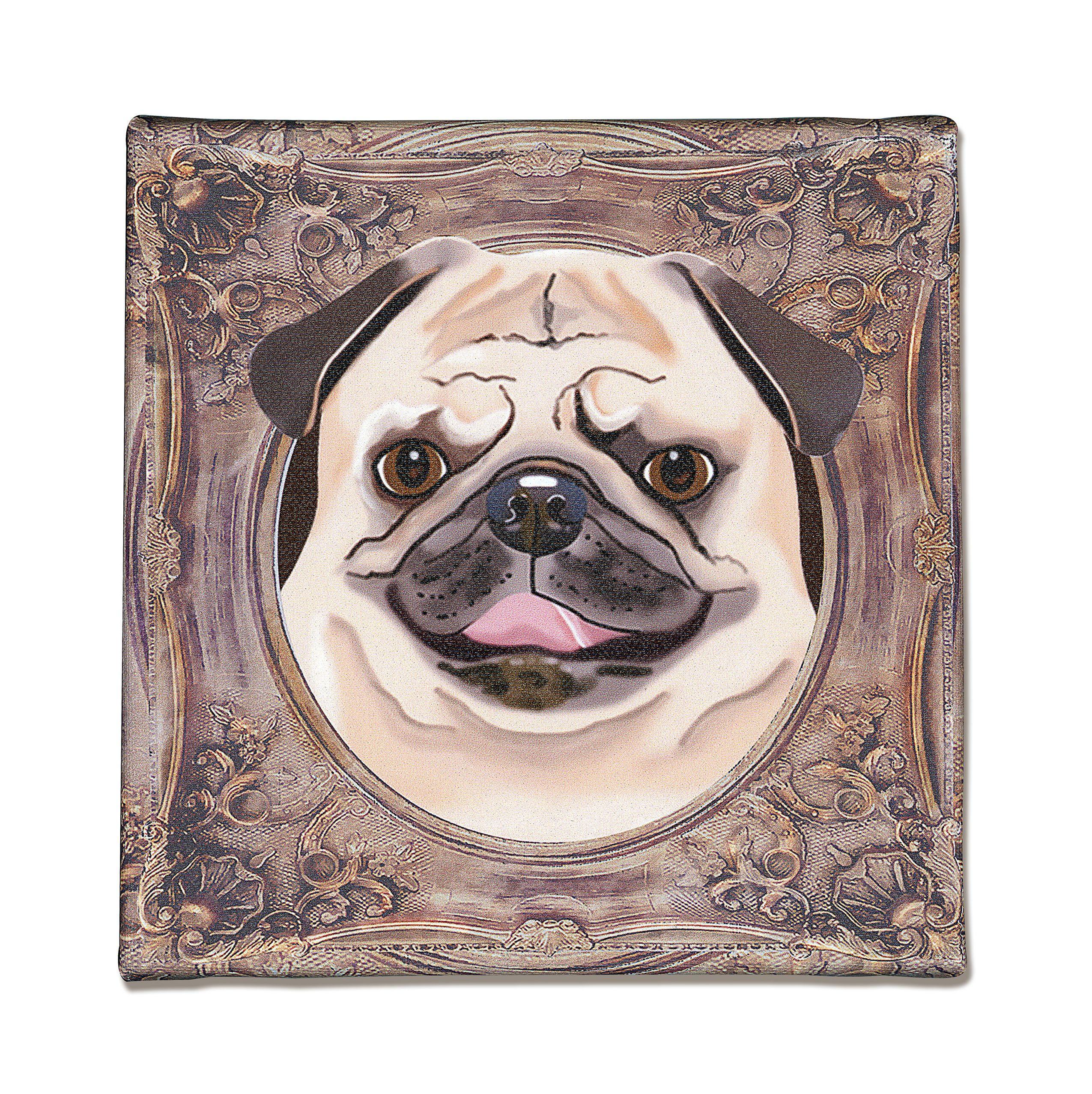 Pug Art Print On Canvas Beige Dark Brown Pug In A Frame