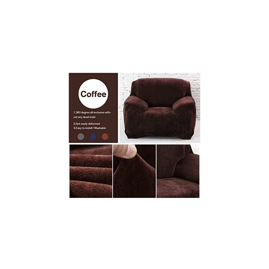 Yeahmart Thick Sofa Covers 1 2 3 Seater Pure Color Sofa Protector Velvet Easy Fit Elastic Fabric Stretch Couch Slipcover Trong 2020
