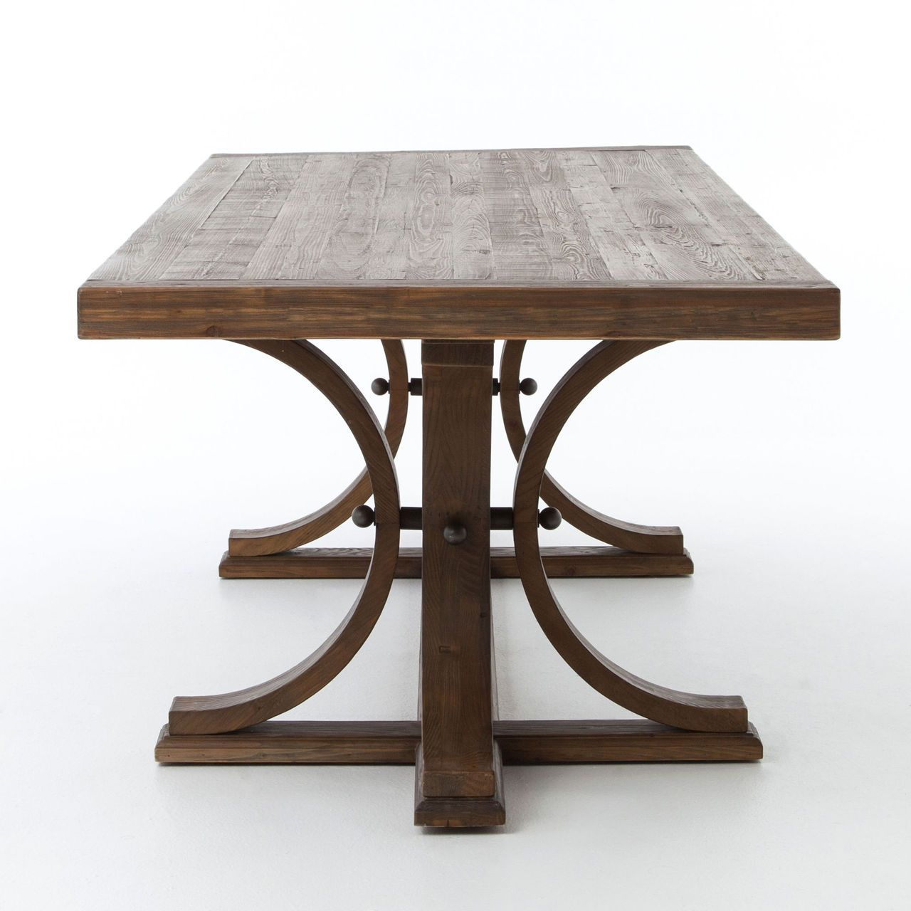 Lugo Farmhouse Trestle Double Pedestal Dining Table