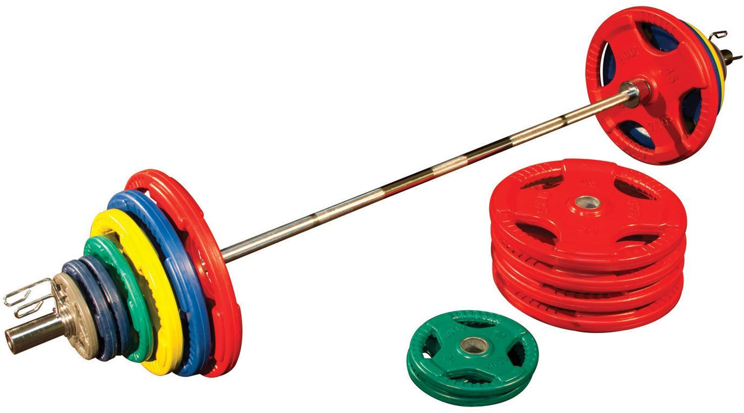 Body Solid 500 lb Bumper Set with Bar Weight set