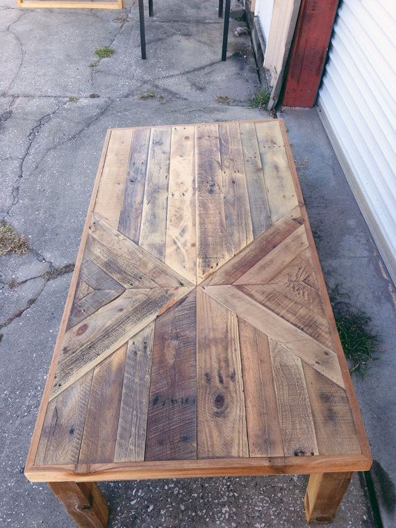 Reclaimed barn wood chevron coffee table by