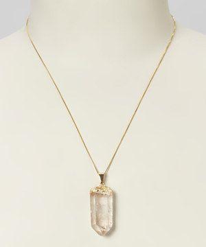 London Manori Colorless Quartz Gold Chain Necklace by London Manori #zulily #zulilyfinds