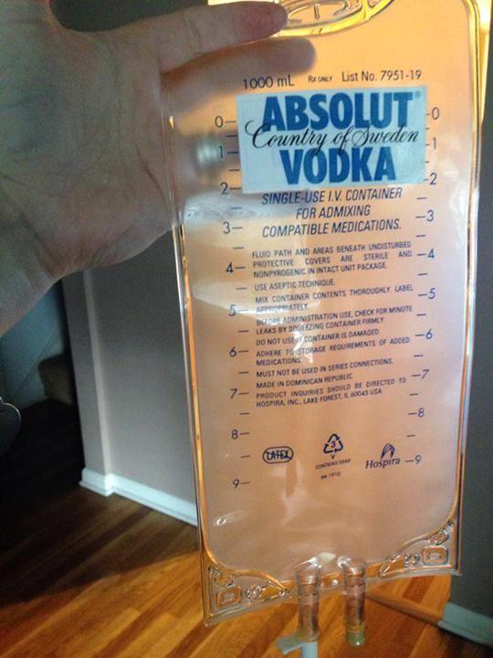 83e2d77e62cc72bc64618d9c25876a81 iv bag of absolut vodka (empty iv bag from amazon; printed,Absolut Vodka Meme