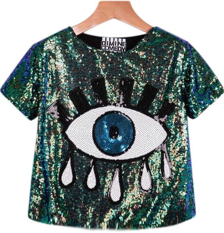 Sequined Eye Pattern Top