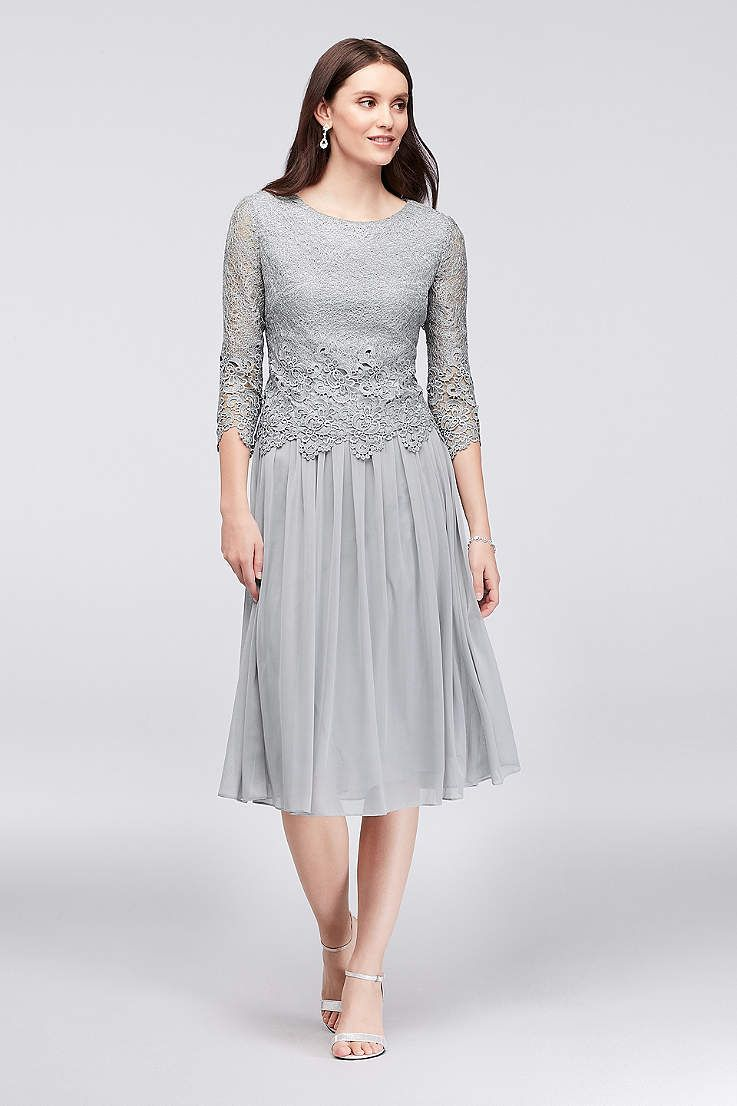 Tea Length ALine 3/4 Sleeves Cocktail and Party Dress