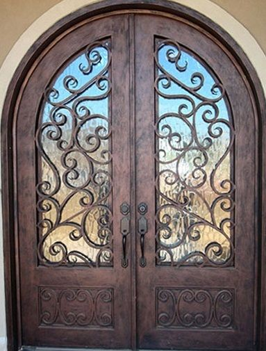 Rustic Wooden Doors With Wrought Iron And Glass With Images