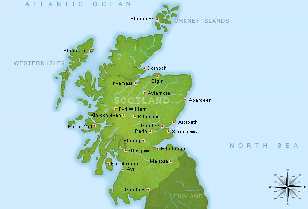 Stirling Scotland Map Map of Scotland showing Aberdeen, Arbroath, Dundee, Stirling and
