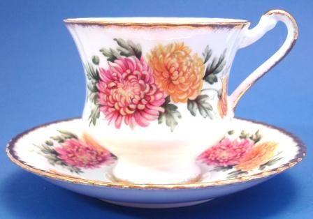 Paragon Bone China Tea Cup & Saucer Pink Yellow Mums