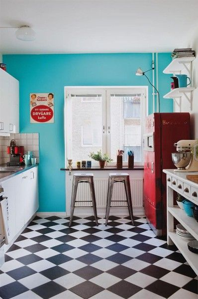 Retro Turquoise + Red Kitchen With Black And White Floor