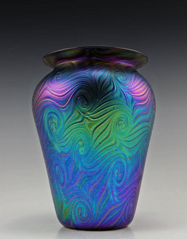 Glass Glamorous Bohemian Art Nouveau Jugendstil Iridescent Large Glass Vase