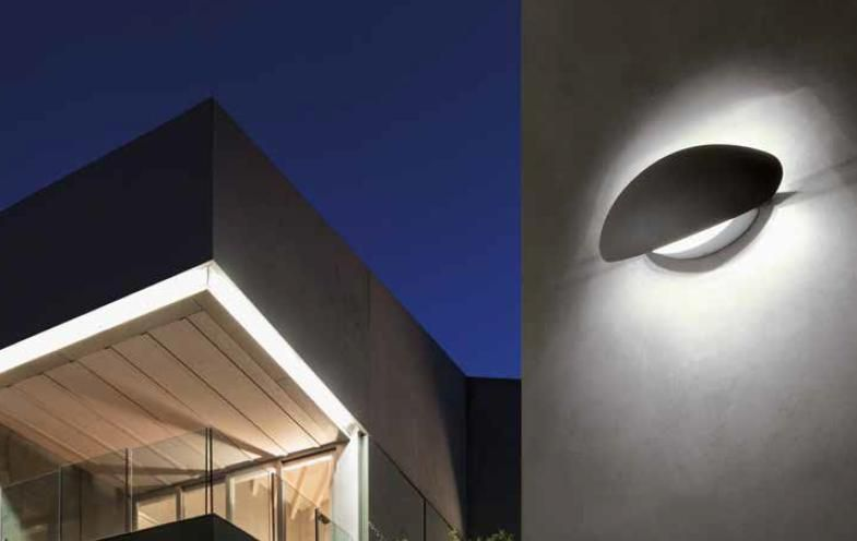 Twist applique per esterno ip led w bianco o marrone parabola