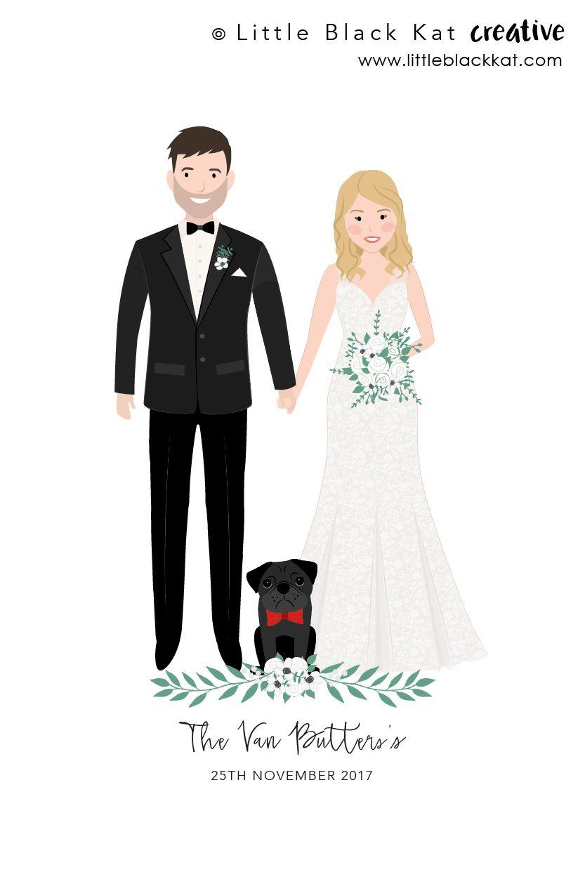 Custom Wedding Portrait Drawing Personalised Wedding Gift First Wedding Anniversary Gift Wedding Keepsake Bride And Groom Illustration Personalized Wedding Gifts Wedding Portraits Wedding Illustration