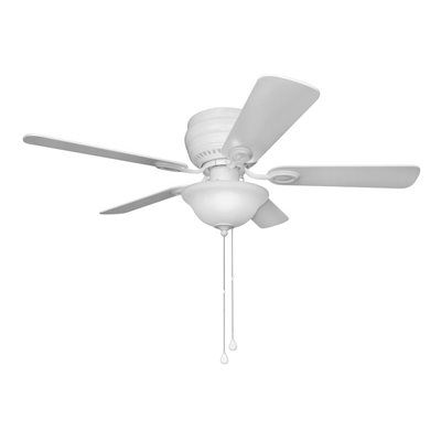 Harbor Breeze Mayfield 44 In White Flush Mount Indoor Residential Ceiling Fan Standard Included 5 Blade Ceiling Fan With Light Fan Light Ceiling Fan