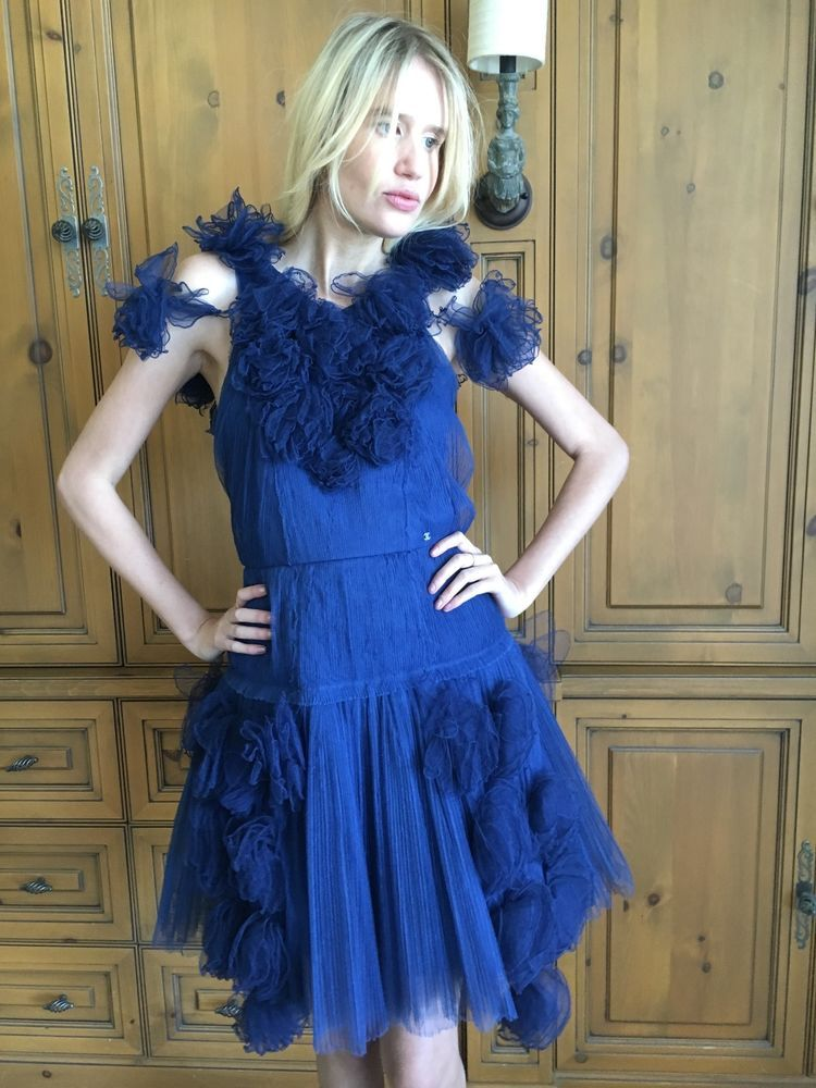 Chanel Romantic Vintage Blue Tulle Dress with Rosettes Size 34 #Chanel #Dress