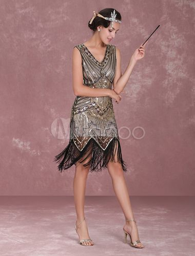 charleston kleid 2018 20er Jahre Kleid Flapper Kostüm für Damen und Erwachsenen Flapper mit Pailletten bestickt - Milanoo.com