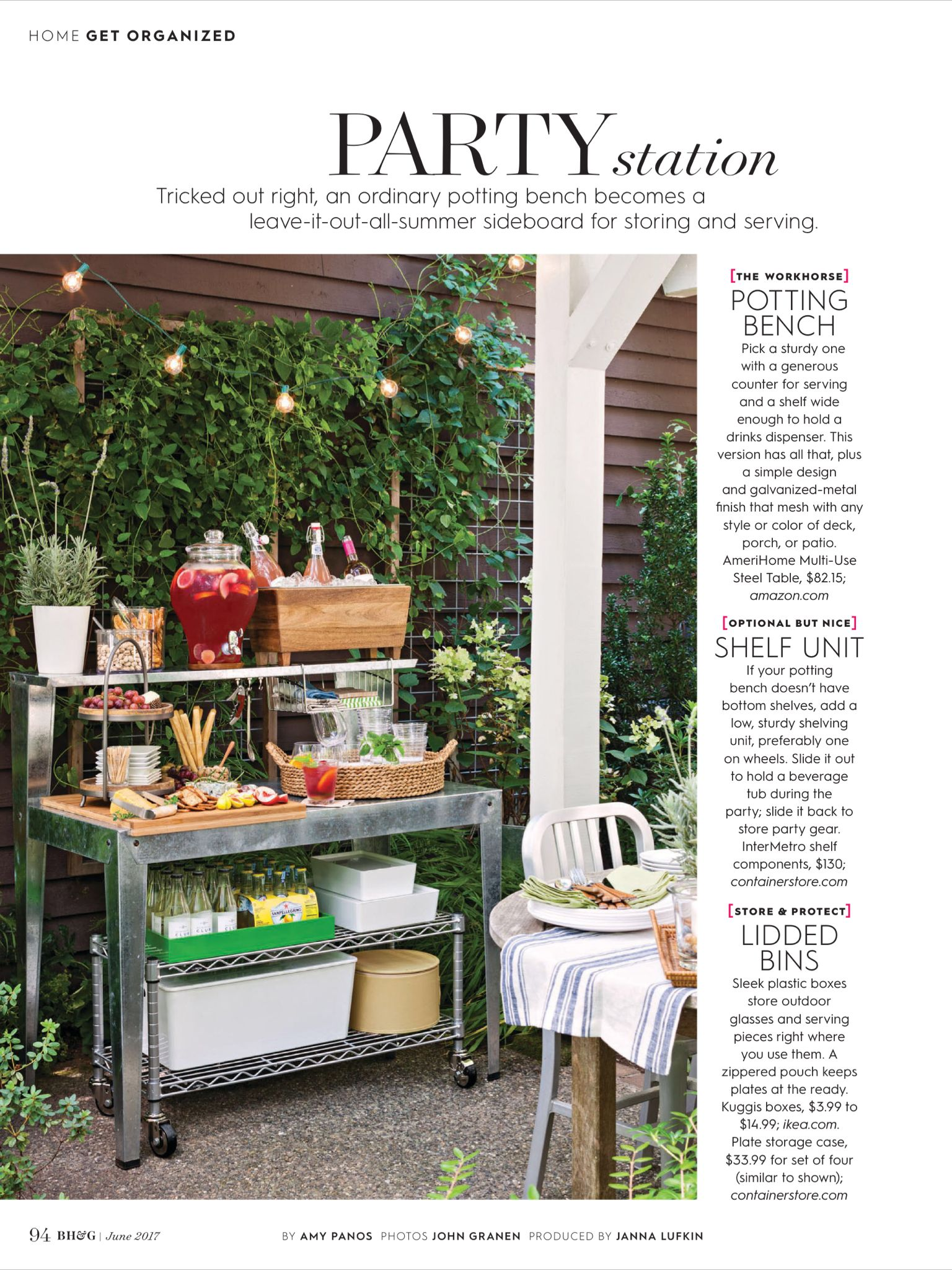 Party Station from Better Homes and Gardens June 2017 Read it