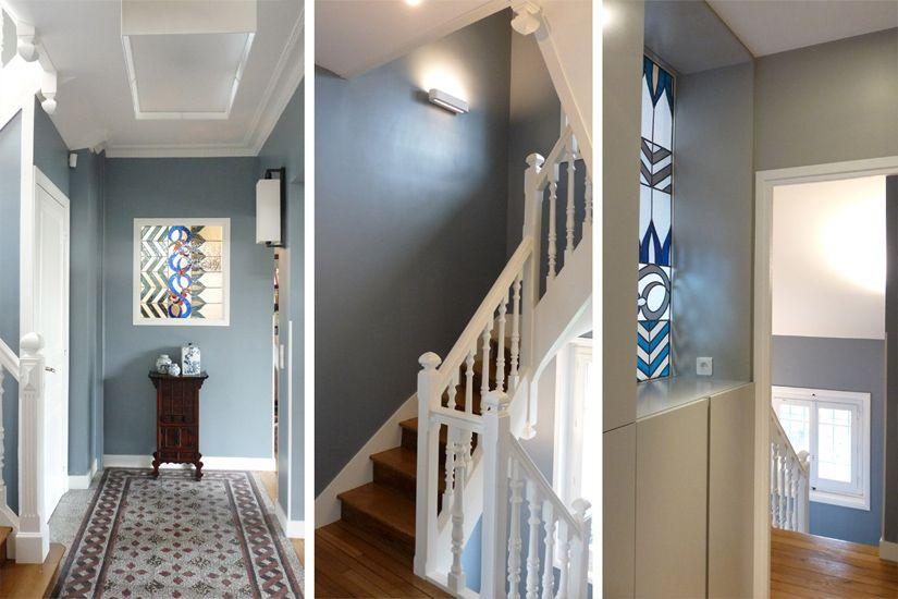 entree-carreaux-de-ciment-vitrail-et-escalier la belle meuliere - idee couleur couloir entree