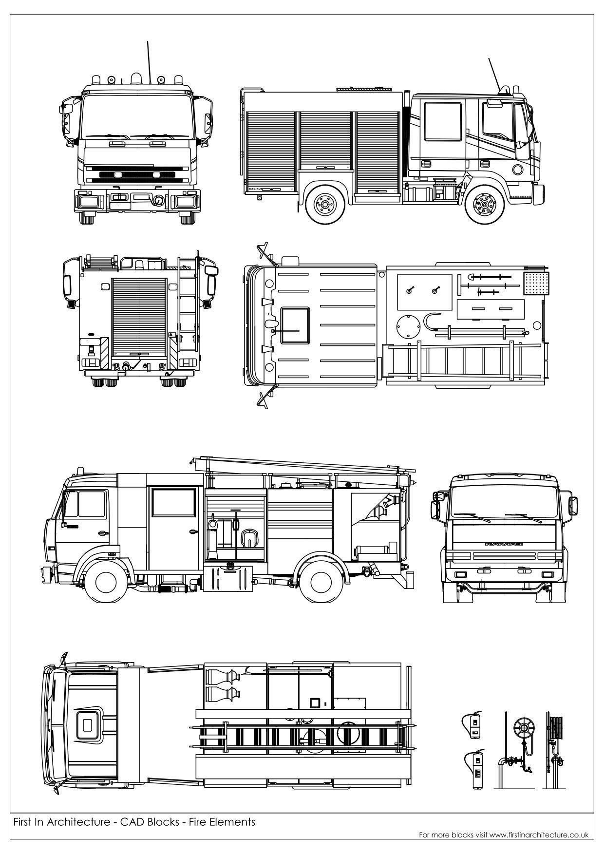 a selection of free cad blocks featuring fire trucks fire engines fire extinguishers and fire symbols and signs [ 1240 x 1753 Pixel ]