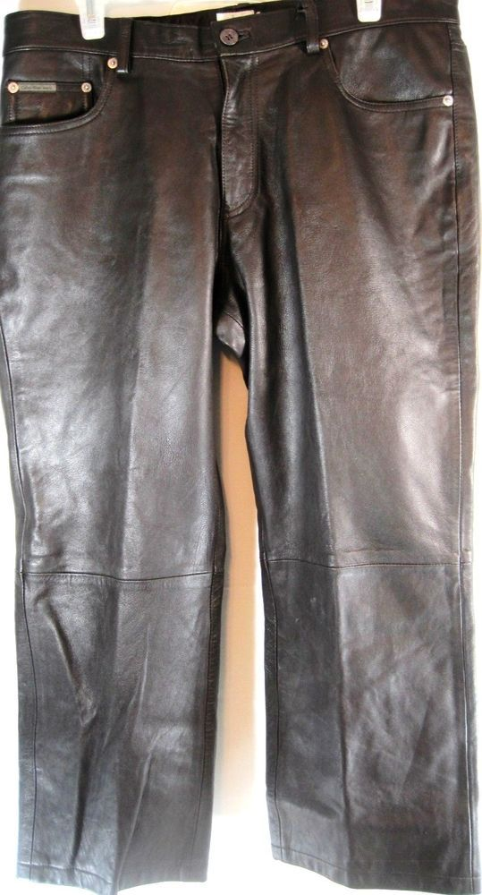 Calvin Klein Women Leather Pants Black Size 14 Waist 36 Inseam 25.  SSS 81 #CalvinKlein #CaprisCropped