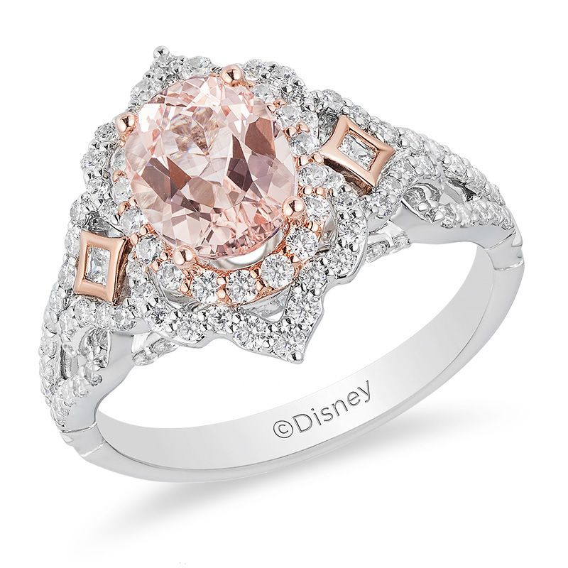 Enchanted Disney Aurora Oval Morganite And 3 4 Ct T W Diamond Scallop Frame Engagement Ring In 14k Two Tone Gold Zales Wedding Rings Unique Disney Engagement Rings Fine Engagement Rings