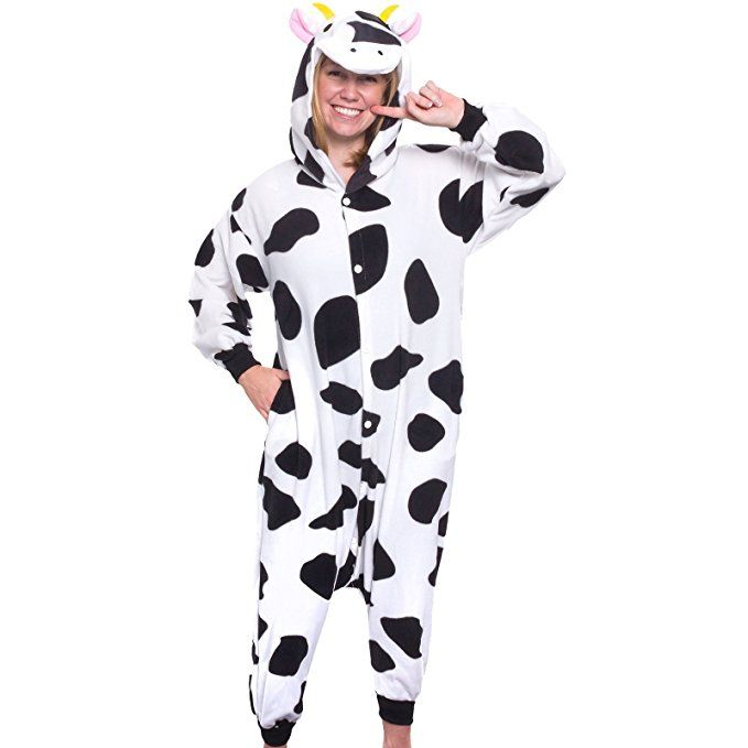 5755449dfc Silver Lilly Adult Pajamas - Plush One Piece Cosplay Animal Costume (Cow