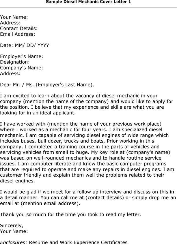 Diesel Mechanic Cover Letter Australia