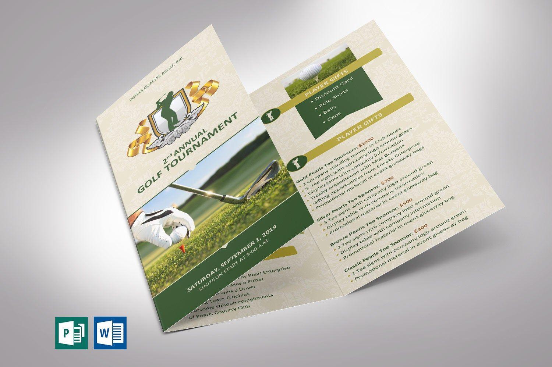 Charity Golf Tournament Brochure Template Word And Publisher Etsy Publisher Templates Brochure Template Trifold Brochure