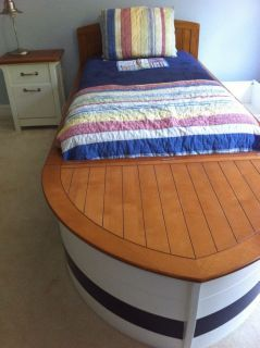 Speedboat Boat Bed Nightstand Pottery Barn Kids W Trundel And Toy Storage Wooden Toy Boxes Pottery Barn Kids Pottery Barn Kids Boat Bed